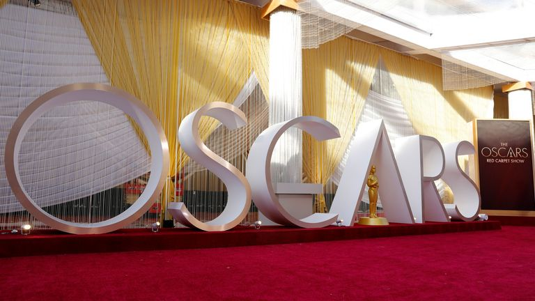 Preparation for the 92nd Academy Awards continues along the red carpet area in Los Angeles, California, U.S., February 8, 2020. REUTERS/Mike Blake