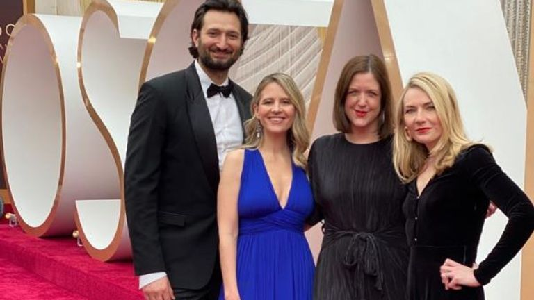 Sky News crew at the Oscars red carpet in 2020. The red carpet will be happening but it's the first in many years Sky hasn't sent a team to LA because of COVID-19