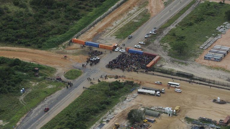 People seen outside the TOTAL compound near Palma, Mozambique