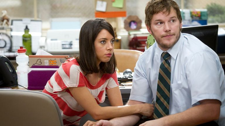 Plaza's character married Andy in the show - played by Chris Pratt. Pic: Paul Drinkwater/NBC