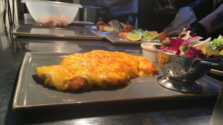 Parmo - Stokton on Tees pub The Derry's speciality served on day back after lockdown