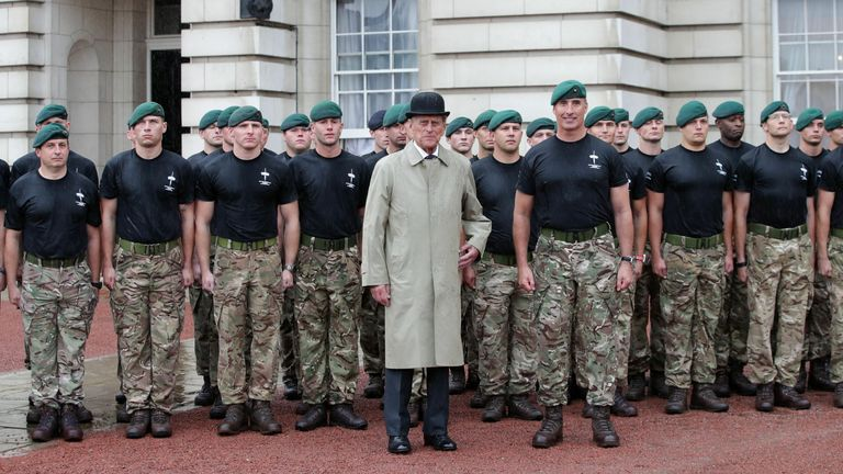 The Duke of Edinburgh meeting Royal Marines during his final engagement in August 2017
