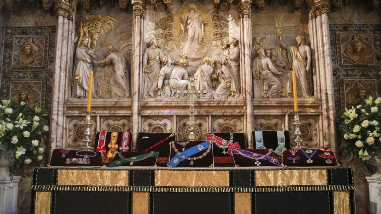 The Duke of Edinburgh's insignias placed on the altar in St George's Chapel ahead of his funeral
