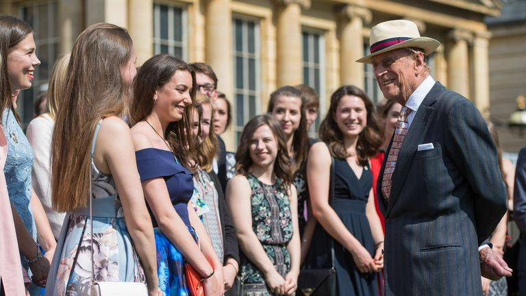 Prince Philip greets guests for a Duke of Edinburgh's Award gold award presentations in 2017