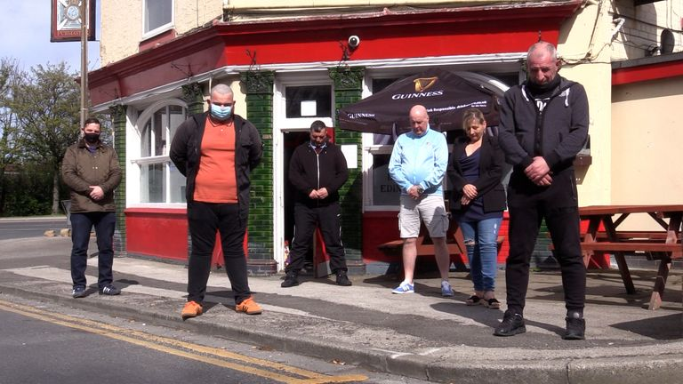 Drinkers at the Duke of Edinburgh pub in Hull observe a minutes silence to mark the start of the funeral of Prince PhilipPicture date: Saturday April 17, 2021.