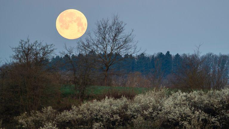 La luna gigante sorge sopra la Via Crucis a Rimov, vicino a سيس esk Bud ب jovice, Repubblica Ceca.  Pic: AP