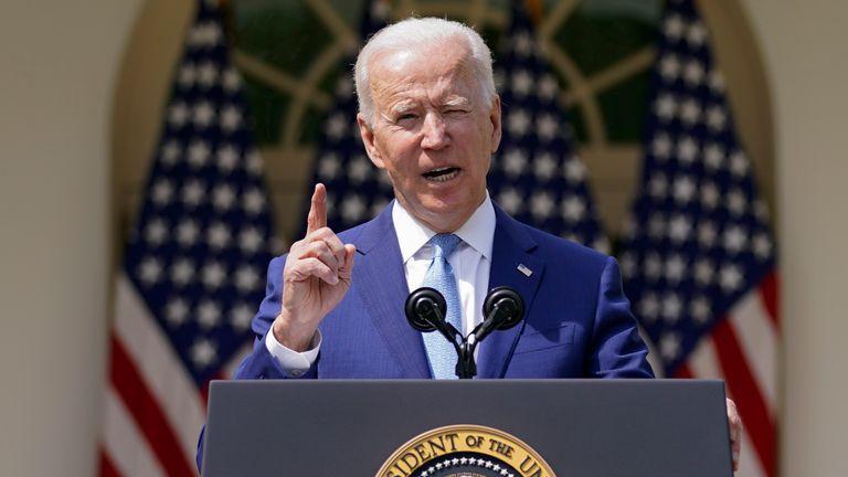 President Joe Biden in the Rose Garden at the White House