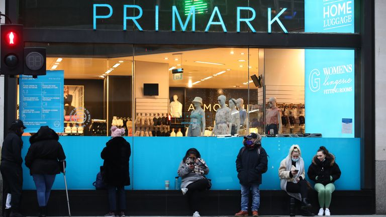 Early shoppers queue outside Primark in Oxford Street