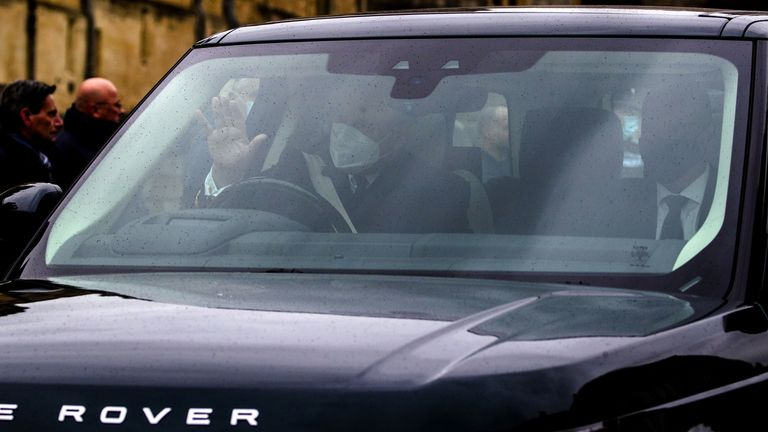 Prince Andrew waved at the public as he drove away from Windsor Castle