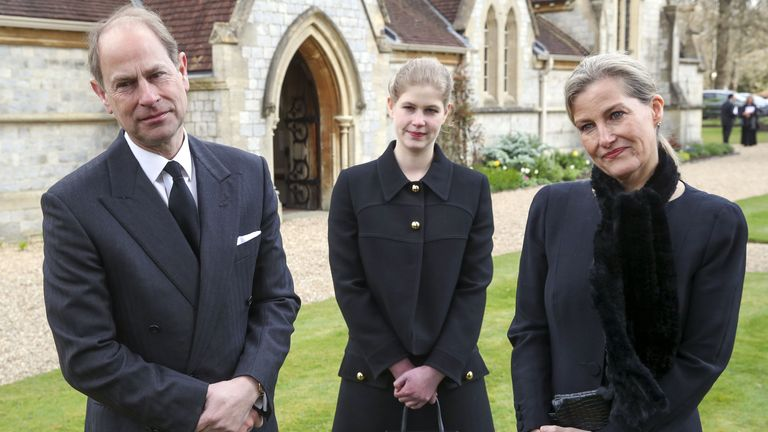 The Earl and Countess of Wessex, with their daughter Lady Louise Windsor, at the chapel