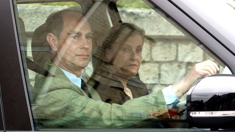 Prince Edward and his wife Sophie arrive at Windsor Castle