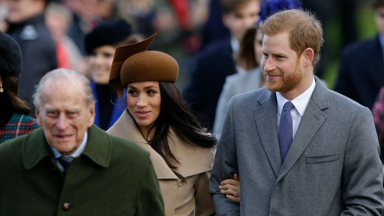 Kate, Duchess of Cambridge, Prince Philip, Meghan Markle, and Prince Harry arrive for a Christmas Day service in 2017