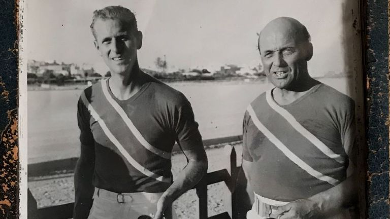 Prince Philip with Admiral Sir Peveril William-Powlett after a polo win