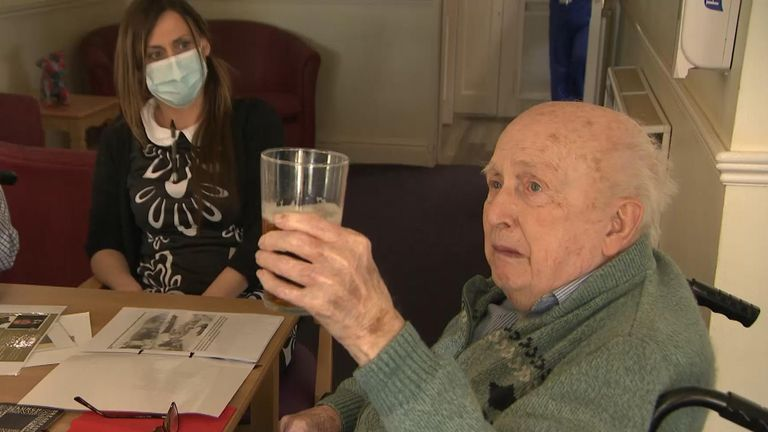 Cyril Rowell, 93, drinks to the late duke