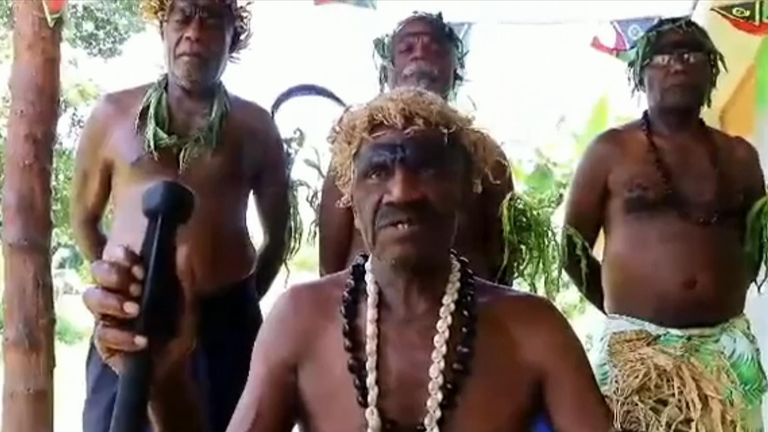 The leader of a Pacific island in the Vanuatu archipelago that worships Prince Philip expressed 'regret' for the Duke's death.
