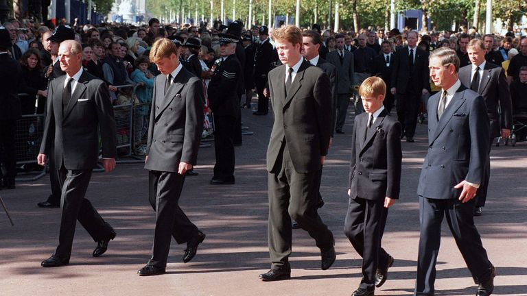(L-R) The Duke of Edinburgh, Prince William, Earl Spencer, Prince Harry and the Prince of Wales at Princess Diana's funeral in September 1997