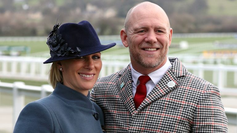File photo dated 12/3/2020 of Zara Tindall and Mike Tindall during day three of the Cheltenham Festival at Cheltenham Racecourse. Mike Tindall has announced wife Zara, the Queen's grand-daughter, is pregnant with their third child.