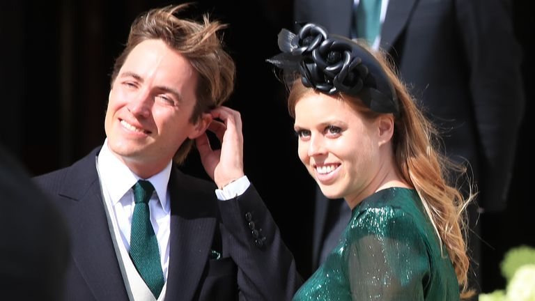 File photo dated 31/8/2019 of Princess Beatrice and Mr Edoardo Mapelli Mozzi, whose engagement has been announced today, attending the wedding of singer Ellie Goulding to Caspar Jopling. Issue date: Thursday September 26, 2019. See PA story ROYAL Beatrice. Photo credit should read: Peter Byrne / PA Wire.