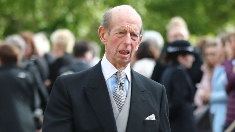 The Duke of Kent (left) arrives ahead of the wedding of Princess Eugenie to Jack Brooksbank at St George's Chapel in Windsor Castle
