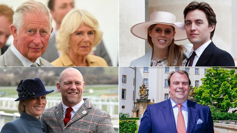 Clockwise from top left: Prince Charles and Camilla Duchess of Cornwall , Princess Beatrice and Edoardo Mapelli Mozzi, Philipp Prince Hohenlohe- Langenburg, Zara Mike Tindall. Pics: Tim Rooke/Shutterstock/Reuters/Niedermuller Thomas/Action Press/PA