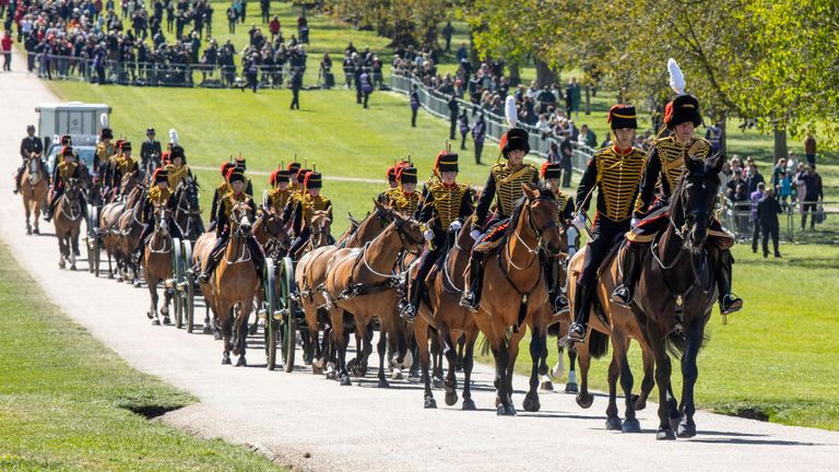 The King's Troop Royal Horse Artillery arrives at Windsor Castle in preparation for the Gun Salute on the palace grounds on the day of the funeral of Britain's Prince Philip, husband of Queen Elizabeth, who died at the age of 99, in Windsor, Britain April 17, 2021. Antonio Olmos/Pool via REUTERS