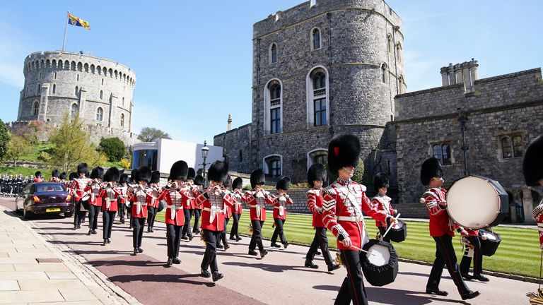 Members of the military arrive for the funeral of the Duke of Edinburgh in Windsor Castle