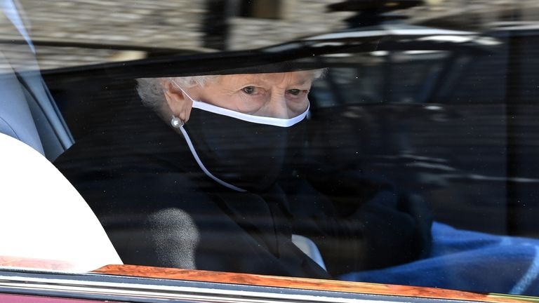 Queen Elizabeth II arrives ahead of the funeral of the Duke of Edinburgh at Windsor Castle, Berkshire. Picture date: Saturday April 17, 2021.