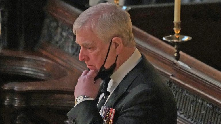The Duke of York during the funeral of the Duke of Edinburgh in St George's Chapel, Windsor Castle, Berkshire. Picture date: Saturday April 17, 2021.