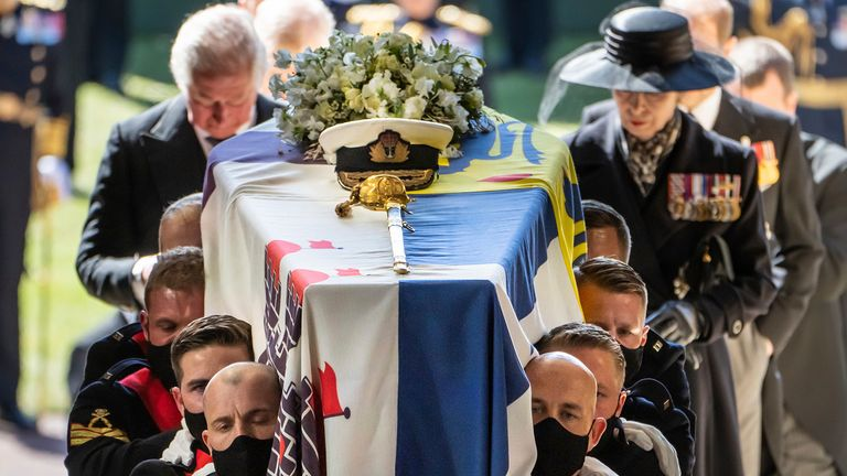 Pall Bearers carrying the coffin of the Duke of Edinburgh. Pic: AP