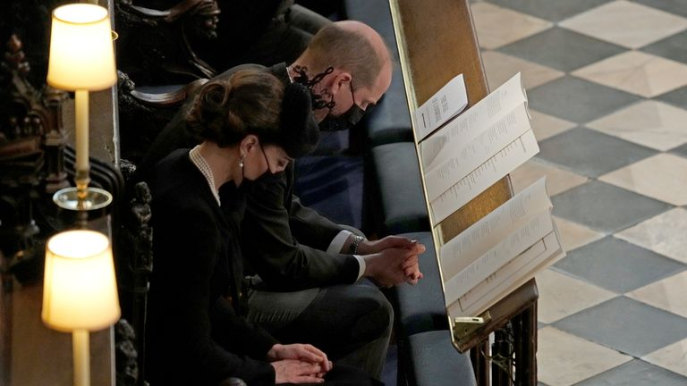 Britain?s Prince William and Britain's Catherine, Duchess of Cambridge attend the funeral of Britain's Prince Philip, husband of Queen Elizabeth, who died at the age of 99, at St George's Chapel, in Windsor Castle, in Windsor, Britain, April 17, 2021. Yui Mok/Pool via REUTERS