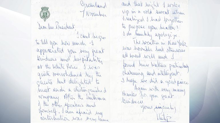 Prince Philip's letter. Pic: Nixon Presidential Library