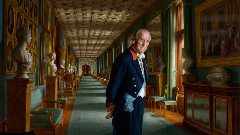 EMBARGOED TO 0001 GMT MONDAY DECEMBER 11..Undated handout image issued by Buckingham Palace of a painting by Australian born artist Ralph Heimans of the Duke of Edinburgh painted in the year of his retirement from public engagements. PRESS ASSOCIATION Photo. Issue date: Monday December 11, 2017. Set in The Grand Corridor at Windsor Castle, the Duke of Edinburgh is depicted wearing the sash of the Order of the Elephant, Denmark's highest-ranking honour. See PA story ROYAL Philip. Photo credit should read: Ralph Heimans/Buckingham Palace/PA Wire..NOTE TO EDITORS: This handout photo may only be used in for editorial reporting purposes for the contemporaneous illustration of events, things or the people in the image or facts mentioned in the caption. Reuse of the picture may require further permission from the copyright holder.