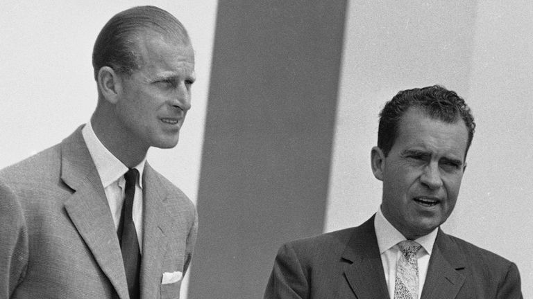 Prince Philip and Richard Nixon in 1959. Pic: AP