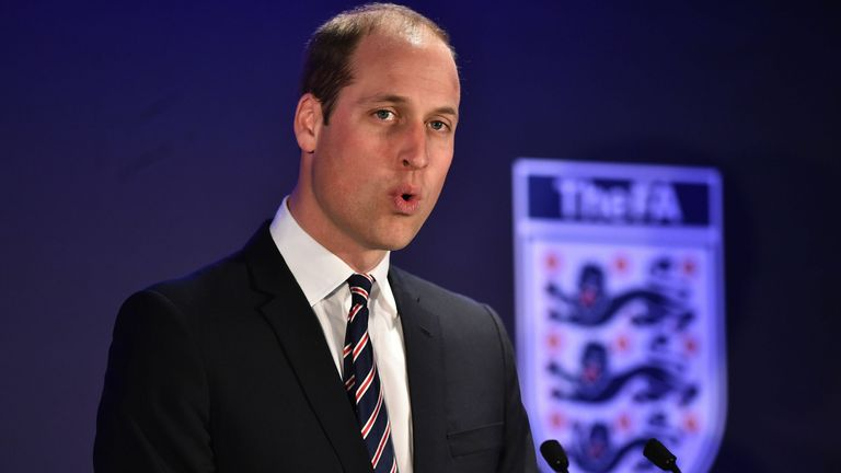 Prince William is pictured at Wembley to mark his 10th anniversary as FA president
