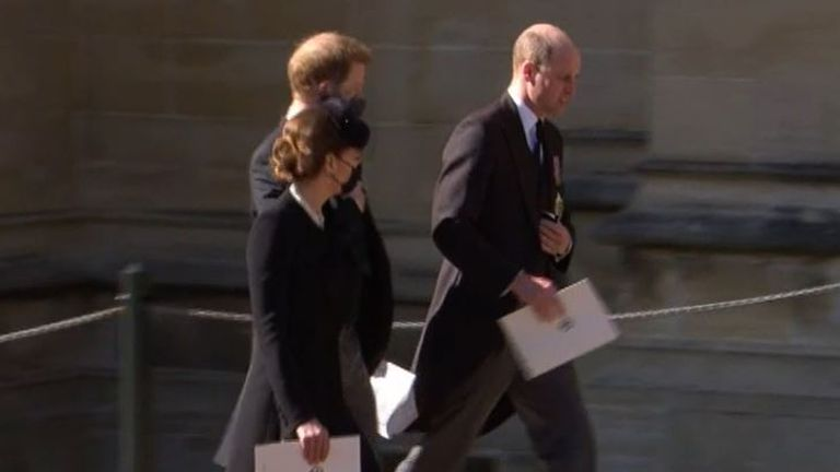 Princes William and Harry appeared to leave the service together, along with William's wife, the Duchess of Cambridge