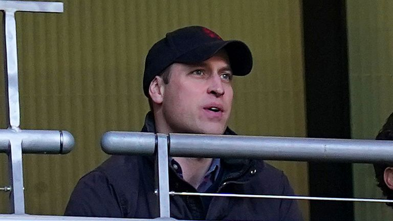 Prince William in the stands at Wembley Stadium