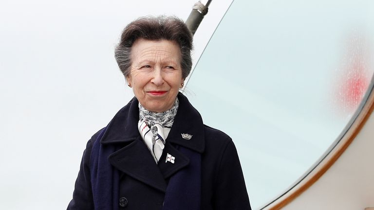 Britain's Princess Anne looks on from the boat at the Royal Yacht Squadron, after Prince Philip, husband of Queen Elizabeth, died at the age of 99, in Cowes on the Isle of Wight, Britain April 14, 2021. REUTERS/Peter Nicholls