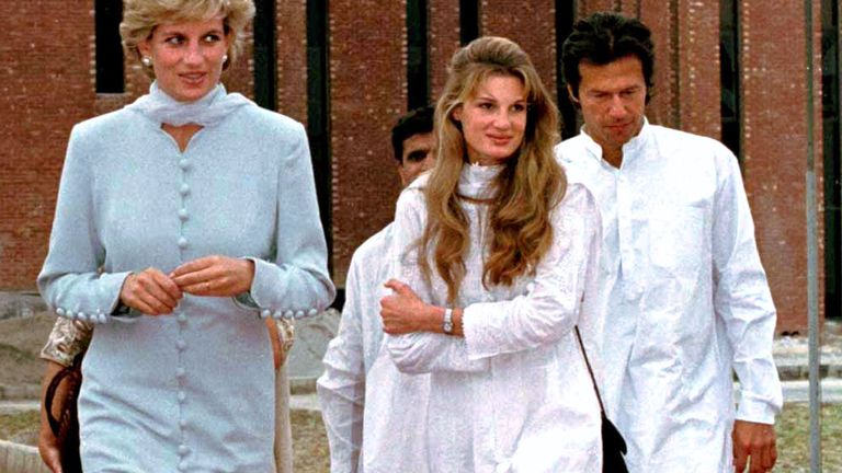 Princess Welsh (L) and her friends Jemima and Imran Khan (R) will pass the Shaukat Khanum Memorial Cancer Hospital in Lahore on February 22nd.