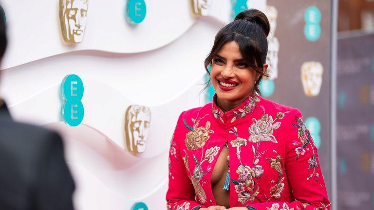 Priyanka Chopra Jonas presented the first BAFTA of the evening. Pic: BAFTA/Reuters