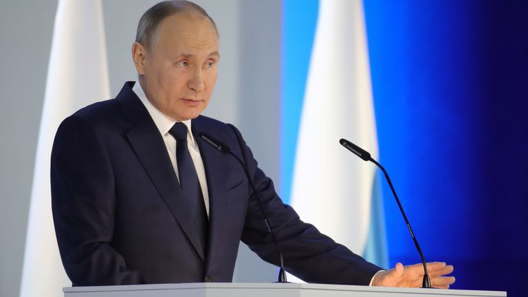 Vladimir Putin did not mention Mr Navalny in a speech to politicians today