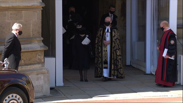 The Queen attends the funeral of her husband Prince Philip, the Duke of Edinburgh.