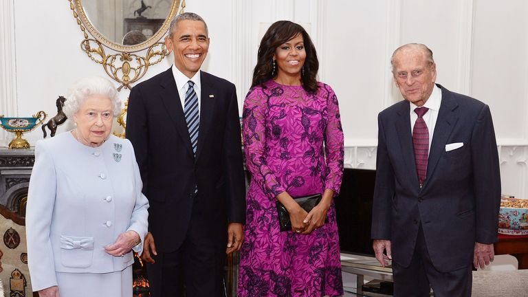 The Queen and Prince Philip with Barack and Michelle Obama at Windsor Castle in April 2016