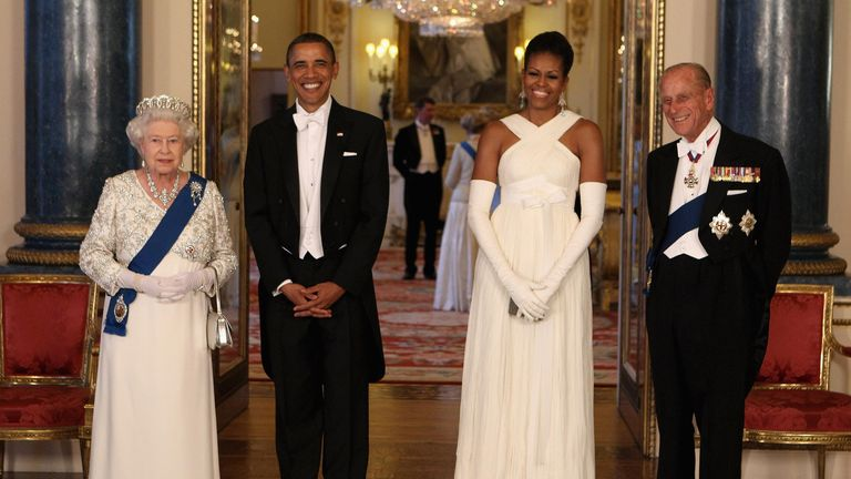 The Queen and Prince Philip with Barack and Michelle Obama at Buckingham Palace in May 2011