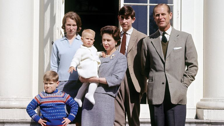 The Queen and Prince Philip surrounded by their four children in April 1965