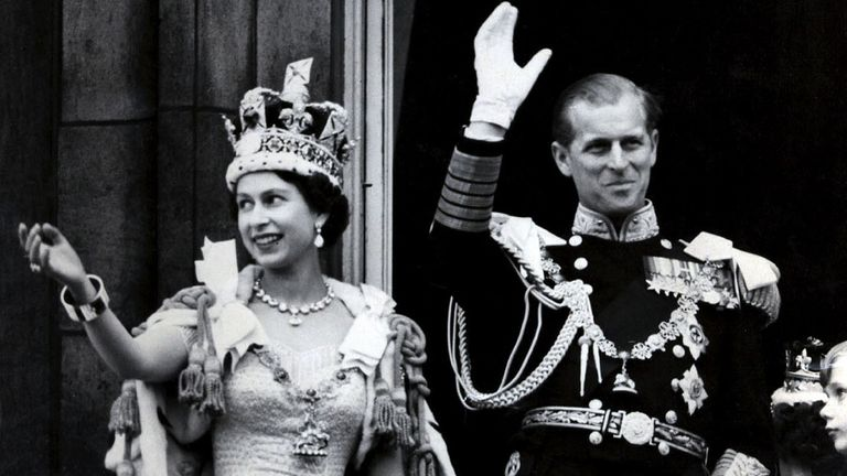 The Queen and Prince Philip after her coronation in June 1953