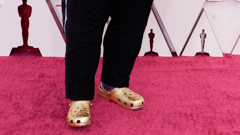 Musician Questlove donned golden Crocs during the Oscars on 25April