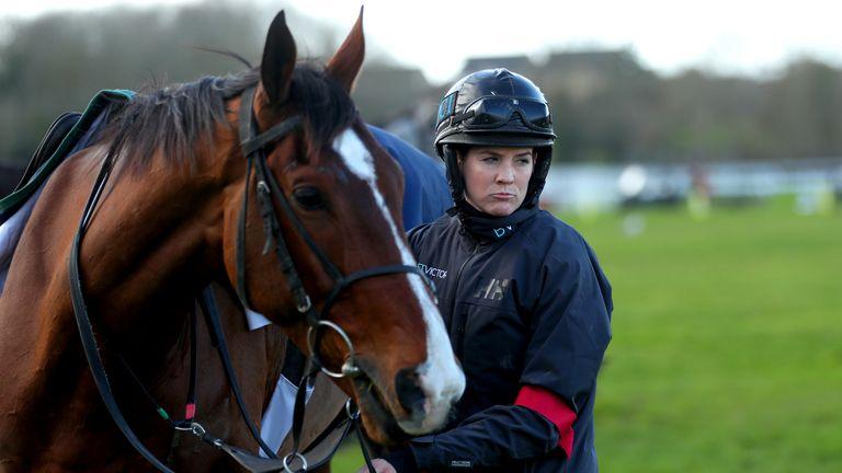 Jockey Rachael Blackmore leads Monalee out on the gallops ahead of Gold Cup Day of the Cheltenham Festival. Photo credit should read: David Davies/The Jockey Club via PA Images