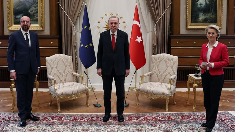 Two chairs for three leaders... (L-R Charles Michel, Recep Tayyip Erdogan and Ursula von der Leyen)