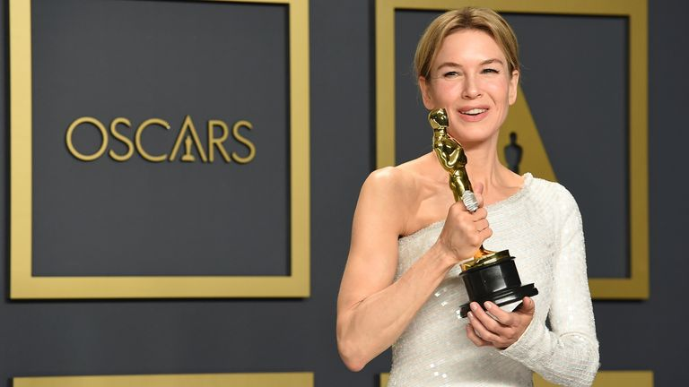 Renee Zellweger, best actress winner for Judy, poses in the press room at the Oscars in 2020. Pic: AP