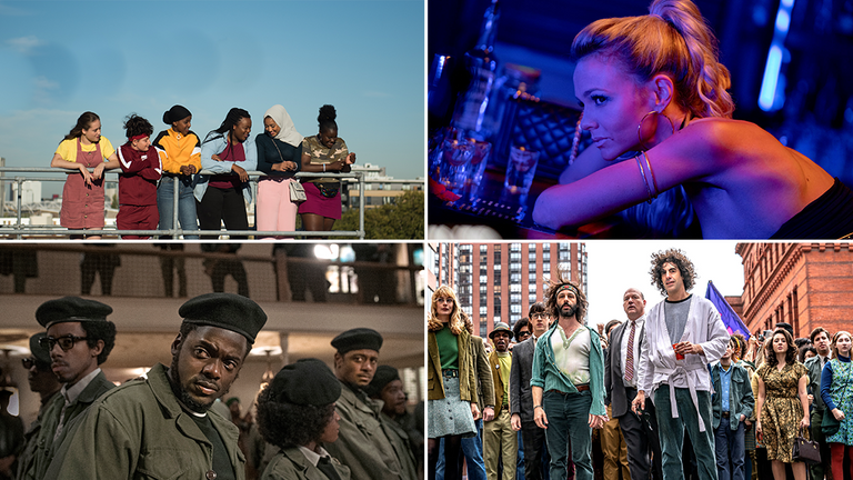 Clockwise from top left: Rocks, Promising Young Woman, Trial Of The Chicago 7 and Judas And The Black Messiah. Pics: Altitude/Focus Features/Netflix/Warner Bros